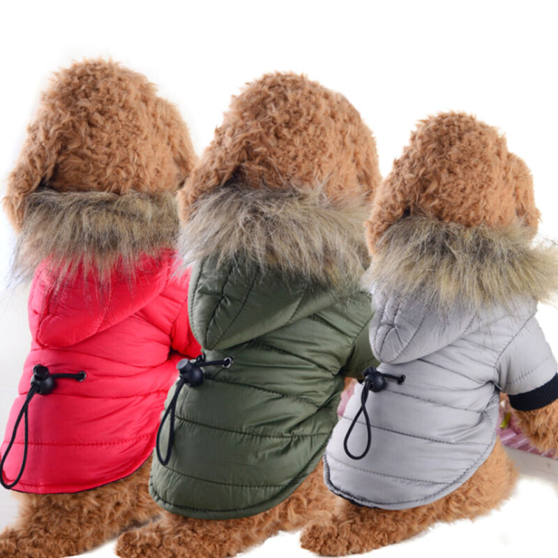Pet Dog Puppy Spring Padded Jacket Fleece Coat Vest Clothes Apparel Warm Hoodie - $9.29