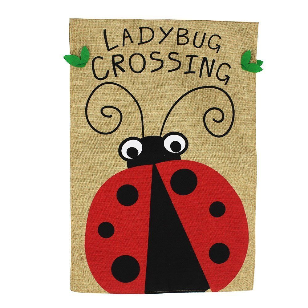 Morigins Ladybug Crossing Double Sided Burlap Spring Summer