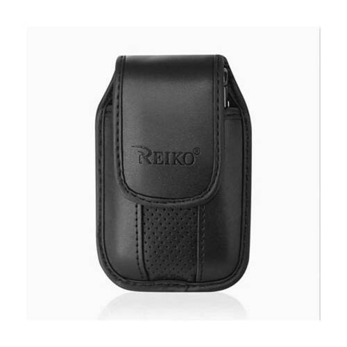 Black Leather Case with pinch clip fits Verizon Freetel Etalk flip phone