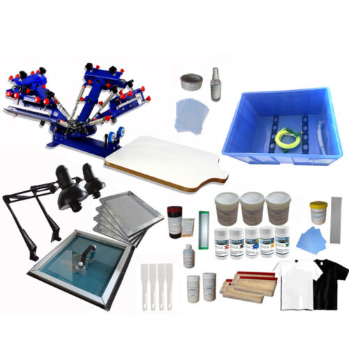 4 Color 1 Station Micro-registration Screen Printing Kit Manual Tools & Exposure