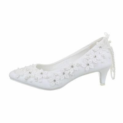 Zapatos de Novia Bombas Mujer Diseñador Nuevo Talla 36 Blanco 7733