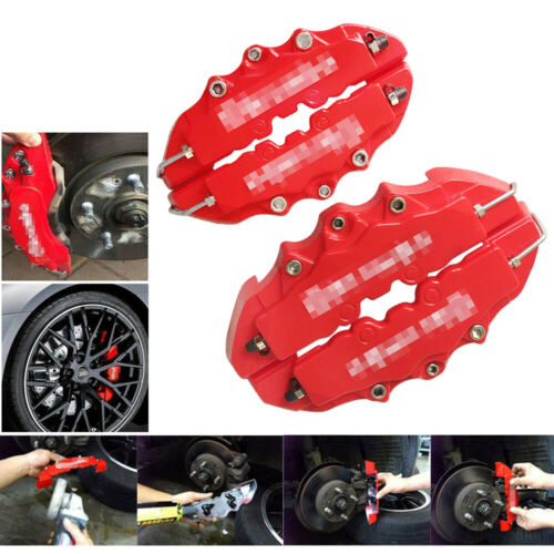 Car Parts - 4PCs Brembo Style 3D Red Disc Brake Caliper Covers Front & Rear Kits Auto Parts
