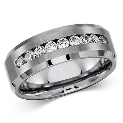 Men's Solid Titanium Beveled Edge Center Cubic Zirconia Comfort Fit Wedding Band Beveled Titanium Wedding Band