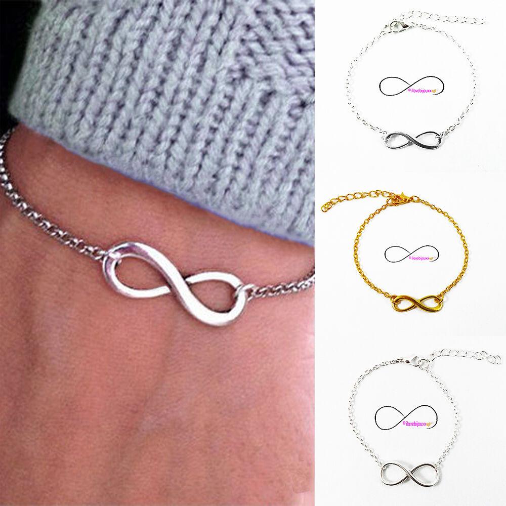 Bracciale INFINITO argento oro catena 2mm braccialetto Uomo Donna Amore Amicizia
