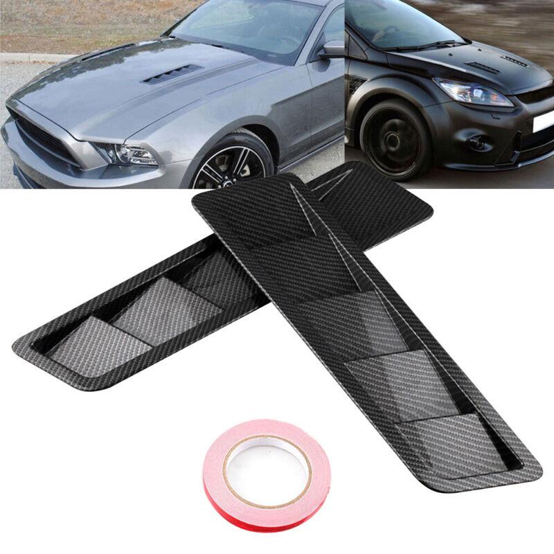 2pcs Universal Car Bonnet Hood Vent Louver Cooling Panel Trim Black New