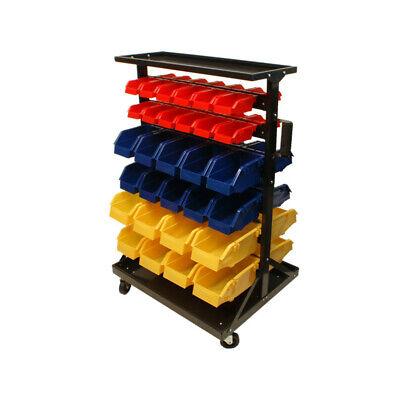 Mobile 60 Removable BINS RACK Parts Accessories Storage Organizer w/ Wheels