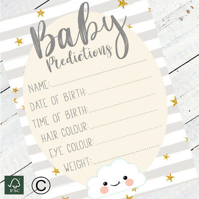 Baby Shower Games - Prediction & Advice Cards Grey Stripe Cloud New Mum To Be