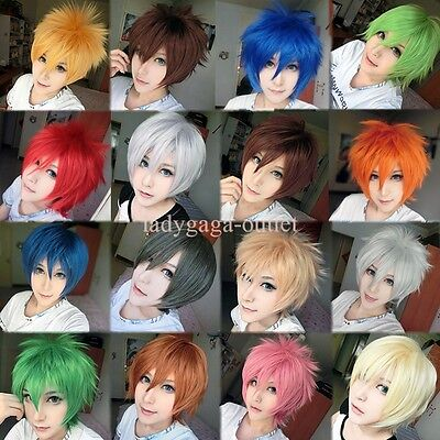 Mens Boys Cosplay Short Wig Fluffy Straight Hair Full Wigs Halloween Costume #ga (Costume Mens Wigs)