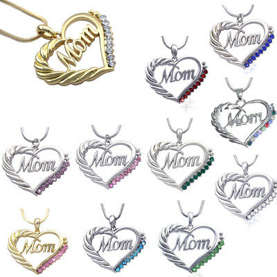 MOM Crystal Heart Pendant Necklace Chain Mothers Day Birthday Best Gift For Mom ()