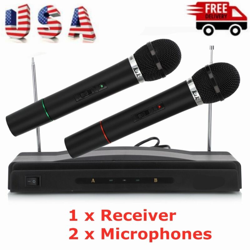 Wireless Dual Handheld Karaoke Microphone KTV Bar Stage Equipment W/ Receiver US