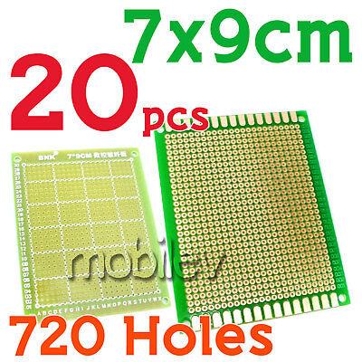 20 Breadboard Prototype Pcb Print Circuit Board 7x9cm Fr4 Green Diy