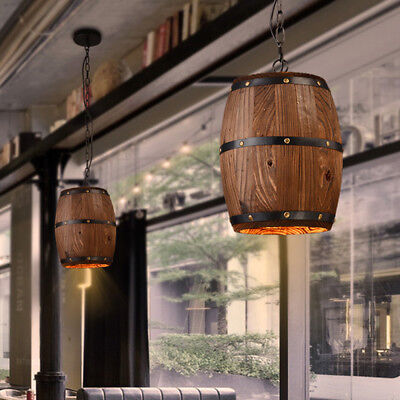 Retro Wood Barrel Hanging Fixture Pendant Ceiling Lamp Lighting Bar Cafe Decor  ()