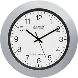 La Crosse 10 Inch Atomic Automatic Silver Analog Wall Clock Ships from US Seller