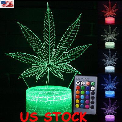 3D LED Night Light Leaf Remote Control LED Table Desk Lamp Home Decor Kids Gift
