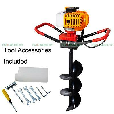 New 2.2 Hp Gas Powered Post Hole Digger W 8 Auger Drill Bit 52cc Power Engine