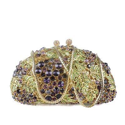 (Gb) Diamante Bolso Mujer Cadena de Oro Estrás Cristal Fiesta Boda Noche