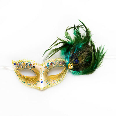 Turquoise & Gold Peacock Masquerade Mask with Feathers Venetian for - Peacock Masquerade Mask