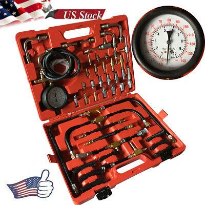Fuel Injection Pressure Gauge Tester Kit Car System Pump Tool Set 0~140PSI US