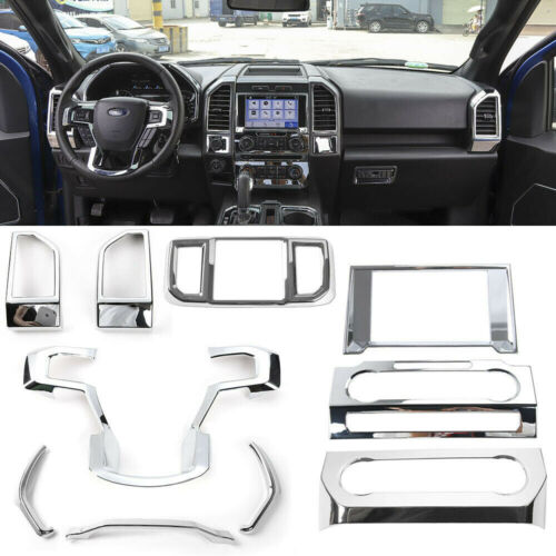 RT-TCZ Air Conditioning Vents Outlets Trim Cover Interior Decoration for Ford F150 2015-2021 Interior Accessories Kit Black Wood Grain
