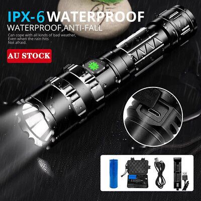 120000LM CREE L2 LED Tactical Flashlight USB Rechargeable Camping Hunting Torch