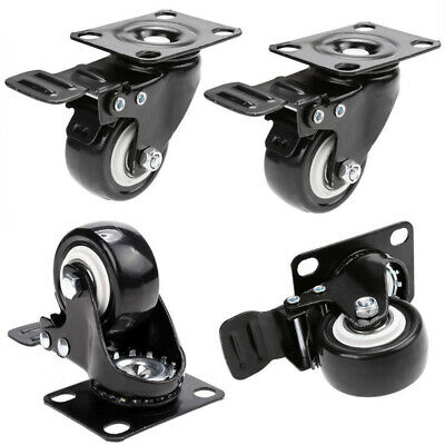 4pcsset Heavy Duty Swivel Casters With Brakes Top Plate 2 Polyurethane Wheels