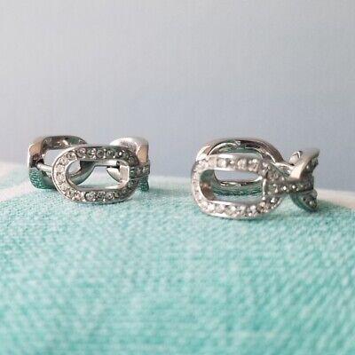 Michael Kors Pave Rhinestone Pierced Earrings Small Hoops Silver Tone