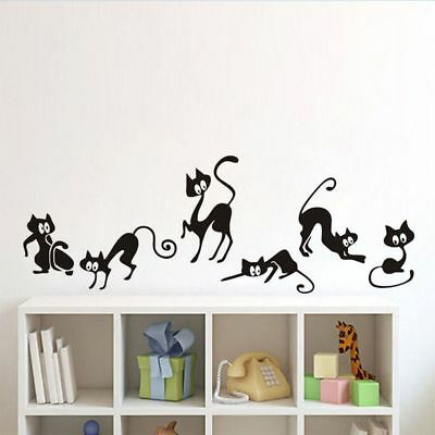 Fashion Kids Home Decoration Living Room 6 Pcs Decal Cute Cats Wall