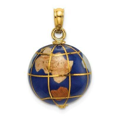 14k 14kt Yellow Gold 3-D ENAMEL WORLD GLOBE Charm PENDANT 11.5 mm X 14.15 mm Gold 3d Globe Charm
