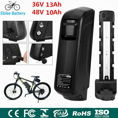 48V 10Ah Li-ion E-Bike Electric Bike Battery Lockable W/ 2A Charger Waterproof