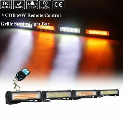 4in1 Remote Control Amber White Cob Led Emergency Flash Grille Strobe Light Bar