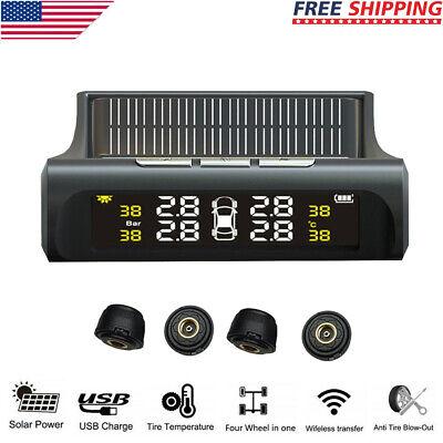 Wireless Solar TPMS Car Tire Pressure LCD Monitoring System w4 External Sensors