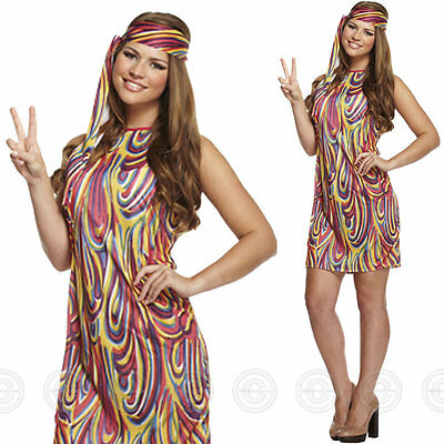 WOMENS ADULT GROOVY GIRL HIPPY FANCY DRESS COSTUME OUTFIT HIPPIE 1970S 60S