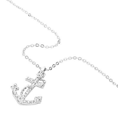 "Anchor Charm Pendant Necklace - Sparkling Crystal - 16"" Chain - 2 Colors"