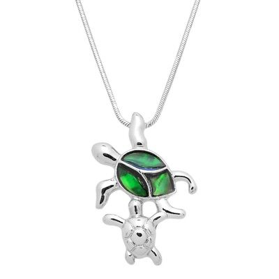 Sea Turtle Mother   Baby Charm Pendant Necklace   Abalone Paua Shell   17  Chain