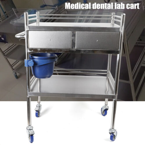 2 Layers Stainless Steel Hospital Medical Dental Lab Trolley Cart & Drawer 10