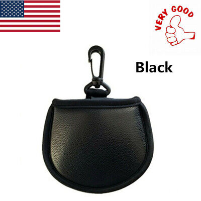 Black Ball Washer (Ball Washer Pouch Golf Pocket Ball Cleaner with Clip PU Water Proof Black 1 Pc)