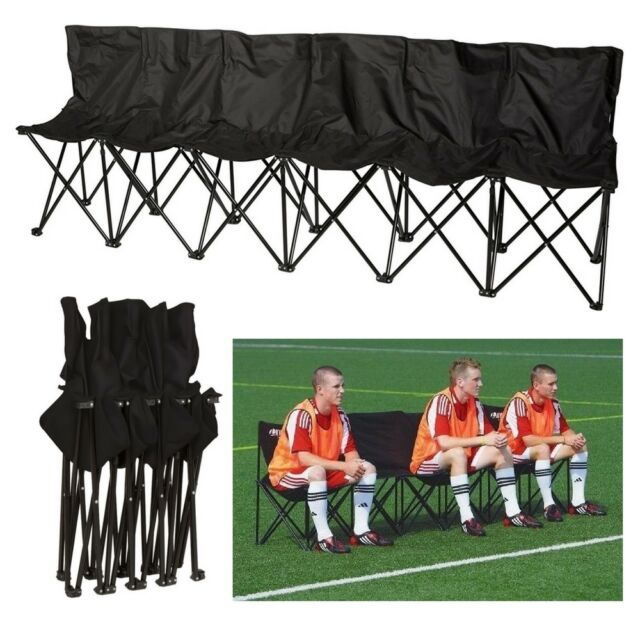Folding Team Bench Part - 34: Portable Folding Chairs 6 Seater Sports Bench Soccer Baseball Stadium Team  Games