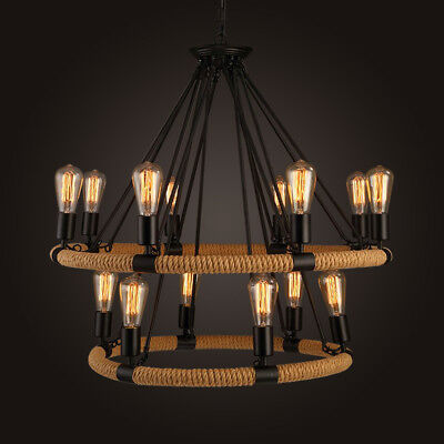 2-Tier Retro Candle Ceiling Light Iron Round Chandelier Industrial Pendant - Tiers Round Chandelier