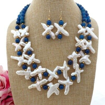 Agate 2 Strands - GE093009 18'' 2 Strands White Cross Pearl Blue Agate Necklace Earrings Set