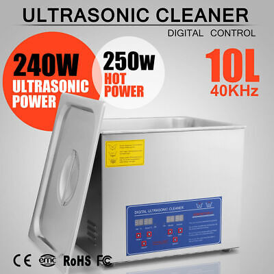10l Ultrasonic Cleaner Heated Tank Jewelry Gun Cleaning Machine Stainless Steel