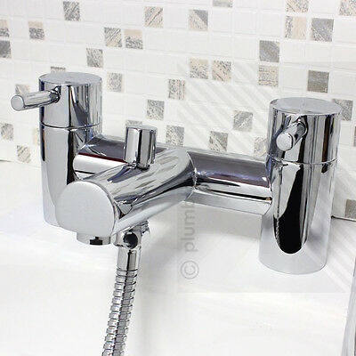 Modern Bath Filler Mixer Tap with Shower Mixer Handset, Hose & Holder in Chrome