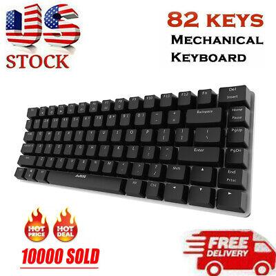Ajazz AK33 Mechanical Keyboard Blue Switch 82-Keys Backlit Gaming Keyboard T8U4 - $15.26