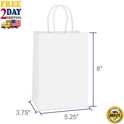 Paper Shopping Bags With Handles (100 pcs paper bags white kraft bag with handles gift Retail Merchandise)