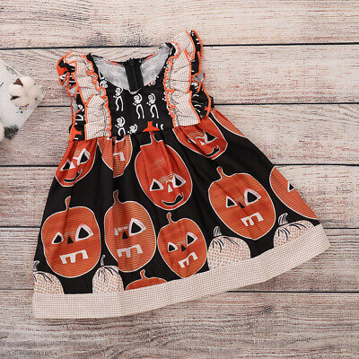 Newborn Baby Girls Skull Romper Pumpkin Dress Headband Halloween Costume - Newborn Girl Halloween Costumes