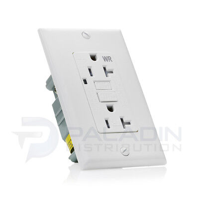 20A TR/WR Tamper Weather Resistant GFCI Outlet w/ Wallplate - UL Listed White