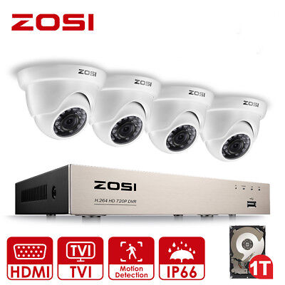 ZOSI 1080N 8CH DVR 720P CCTV Home Christmas Security Camera System 1T HD Gift