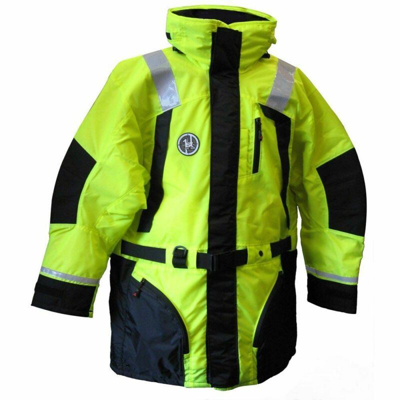 First Watch Hi-Vis Flotation Coat - Hi-Vis Yellow/Black - X-Large, AC-1100-HV-XL
