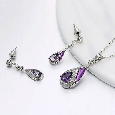 Amethyst Dangle Drop Earrings Chain Pendant Necklace Jewelry Set 20