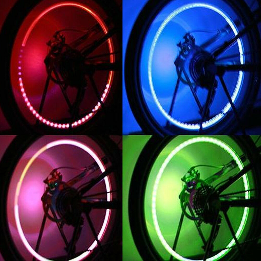 4-Pack Bike Car Motorcycle Wheel Tire Tyre Valve Cap Spoke Neon LED Flash Lamp