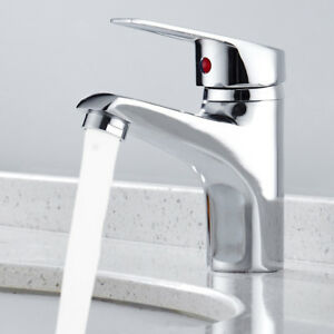 Modern Bathroom Taps Basin Mono Sink Mixer Tap Single Lever Brass Chrome H & C